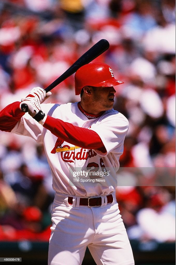 Eli Marrero of the St Louis Cardinals bats against the Colorado Rockies at Busch Stadium on April 29 1999 in St Louis Missouri The Rockies beat the...
