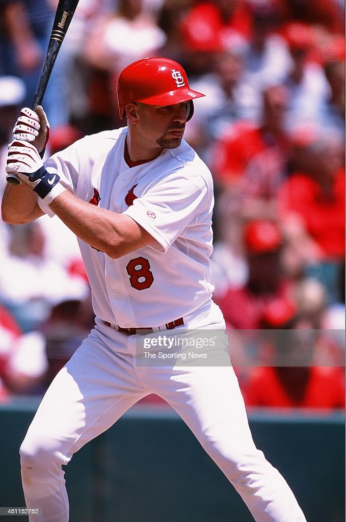Eli Marrero of the St Louis Cardinals bats against the Houston Astros at Busch Stadium on May 23 2002 in St Louis Missouri The Cardinals defeated the...