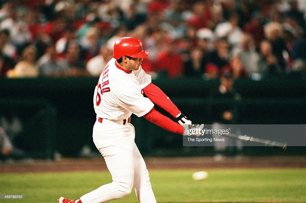 Eli Marrero of the St Louis Cardinals bats against the Houston Astros at Busch Stadium on September 23 1998 in St Louis Missouri