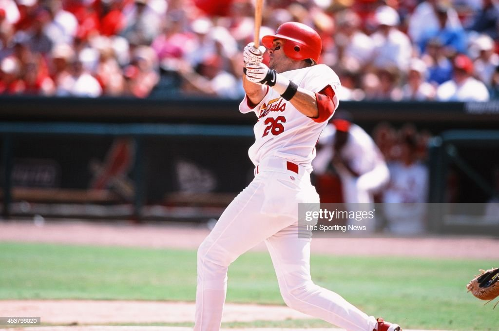 Eli Marrero of the St Louis Cardinals bats against the Los Angeles Dodgers at Busch Stadium on July 7 2002 in St Louis Missouri