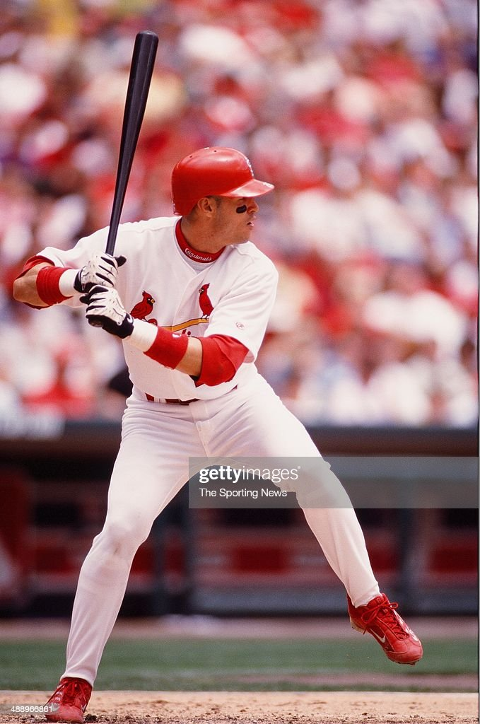 Eli Marrero of the St Louis Cardinals bats against the Pittsburgh Pirates at Busch Stadium on May 4 2000 in St Louis Missouri The Cardinals defeated...