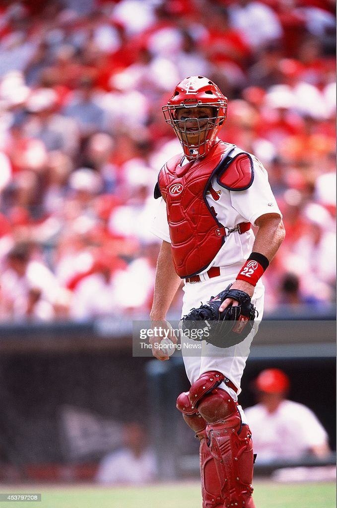 Eli Marrero of the St Louis Cardinals looks on against the Anaheim Angels on June 20 2002 at Busch Stadium in St Louis Missouri