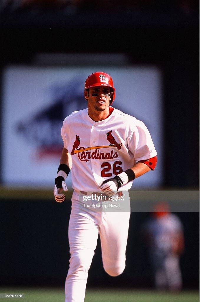 Eli Marrero of the St Louis Cardinals runs against the Anaheim Angels on June 20 2002 at Busch Stadium in St Louis Missouri