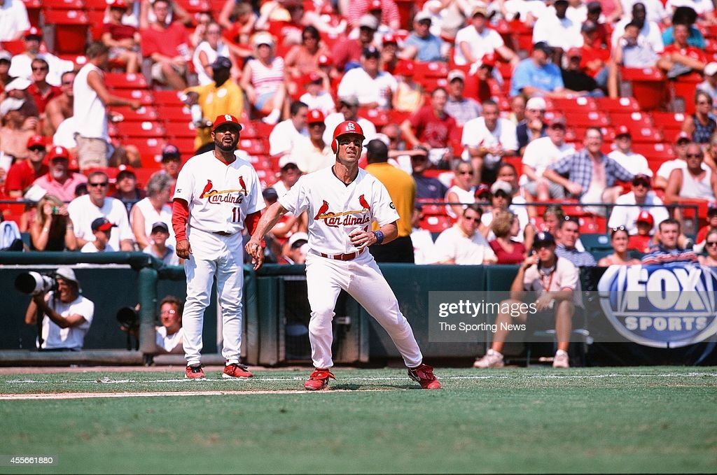 Eli Marrero of the St Louis Cardinals runs against the New York Mets at Busch Stadium on August 10 2002 in St Louis Missouri The Cardinals defeated...