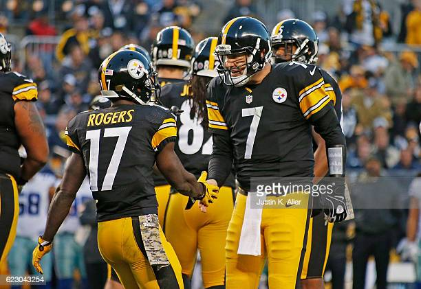 Eli Rogers is met by Ben Roethlisberger of the Pittsburgh Steelers after a 3 yard touchdown reception in the first quarter during the game against...