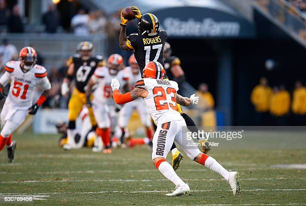 Eli Rogers of the Pittsburgh Steelers makes a catch in front of Joe Haden of the Cleveland Browns in the overtime period during the game at Heinz...