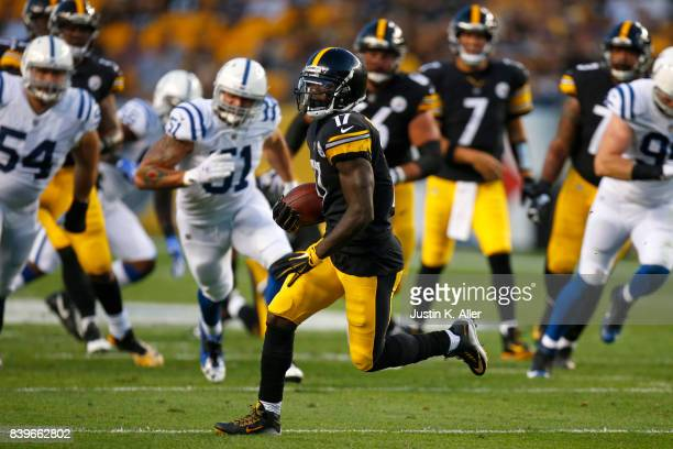 Eli Rogers of the Pittsburgh Steelers runs after the catch in the first half against the Indianapolis Colts during a preseason game on August 26 2017...