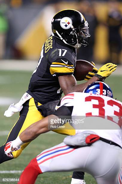 Eli Rogers of the Pittsburgh Steelers runs with the ball during the game against the New York Giants at Heinz Field on December 4 2016 in Pittsburgh...