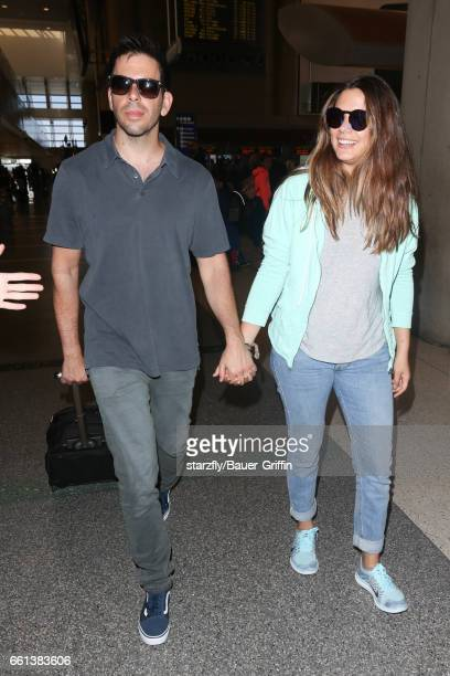 Eli Roth and Lorenza Izzo are seen at LAX on March 30 2017 in Los Angeles California