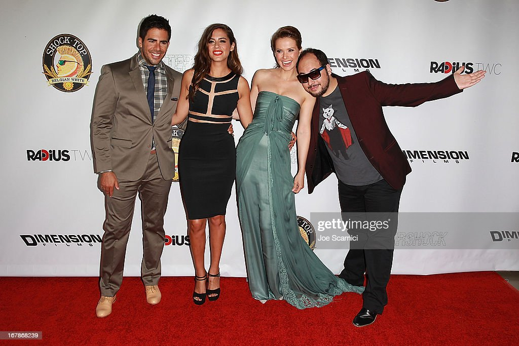 <a gi-track='captionPersonalityLinkClicked' href=/galleries/search?phrase=Eli+Roth&family=editorial&specificpeople=543948 ng-click='$event.stopPropagation()'>Eli Roth</a>, <a gi-track='captionPersonalityLinkClicked' href=/galleries/search?phrase=Lorenza+Izzo&family=editorial&specificpeople=7050477 ng-click='$event.stopPropagation()'>Lorenza Izzo</a>, <a gi-track='captionPersonalityLinkClicked' href=/galleries/search?phrase=Andrea+Osvart&family=editorial&specificpeople=4123426 ng-click='$event.stopPropagation()'>Andrea Osvart</a> and Nicolas Lopez arrive at the 'AFTERSHOCK' premiere presented by Dimension Films and RADiUS-TWC in partnership with Shock Top - Red Carpet on May 1, 2013 in Los Angeles, California.