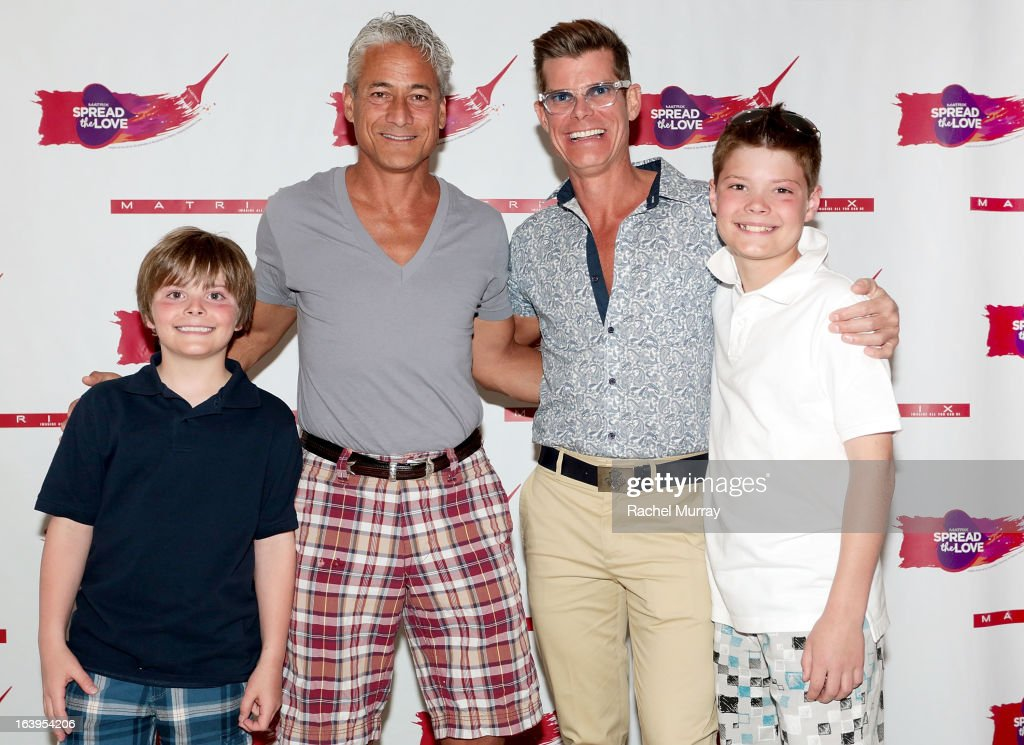 Eli Scofield, Olympic Gold Medalist Greg Louganis, Renowned Beverly Hills hairstylist Lenny Strand, and Riley Scofield attend the Bash To Banish Bullying Benefiting It Gets Better, a Matrix Chairs Of Change Event - Day 1 at Saguaro Hotel on March 16, 2013 in Palm Springs, California.