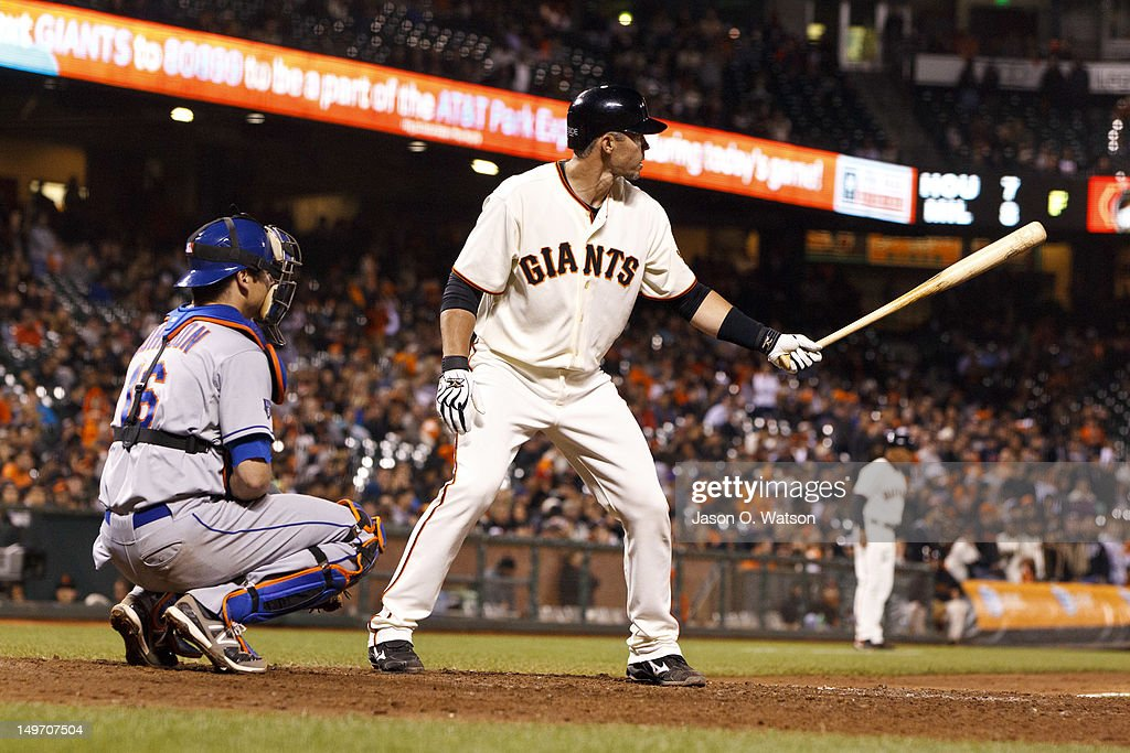 <a gi-track='captionPersonalityLinkClicked' href=/galleries/search?phrase=Eli+Whiteside&family=editorial&specificpeople=836374 ng-click='$event.stopPropagation()'>Eli Whiteside</a> #22 of the San Francisco Giants at bat against the New York Mets during the tenth inning at AT&T Park on July 30, 2012 in San Francisco, California. The New York Mets defeated the San Francisco Giants 8-7 in 10 innings.