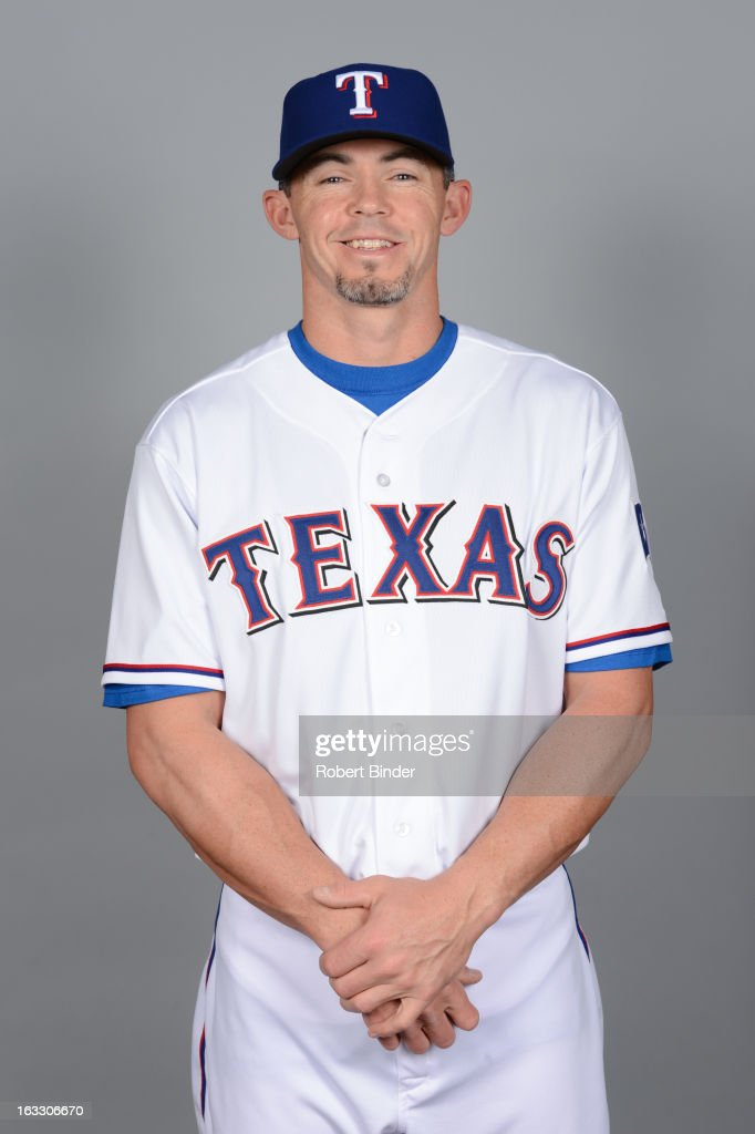 <a gi-track='captionPersonalityLinkClicked' href=/galleries/search?phrase=Eli+Whiteside&family=editorial&specificpeople=836374 ng-click='$event.stopPropagation()'>Eli Whiteside</a> #6 of the Texas Rangers poses during Photo Day on February 20, 2013 at Surprise Stadium in Surprise, Arizona.