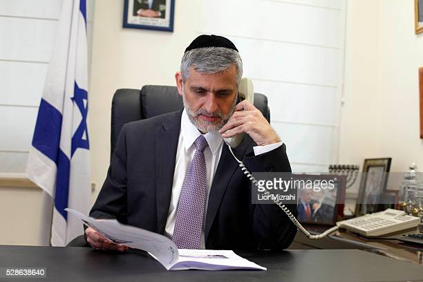 Eli Yishai leader of the Israeli Ultra Orthodox Shas party in his office on February 06 2013 in Jerusalem Israel