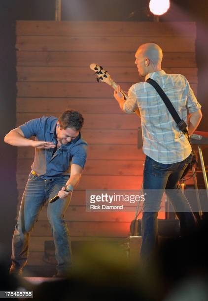 Eli Young Band members Mike Eli and Jon Jones perform during Kenny Chesney's No Shoes Nation on Zac Brown's Southern Ground Tour at the Georgia Dome...