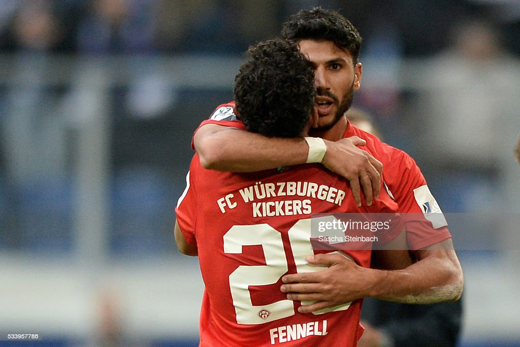 Elia Soriano (R) of Wuerzburg celebrates after scoring his team's first goal with team mate Royal Dominique Fennell (L) during the 2. Bundesliga playoff leg 2 match between MSV Duisburg and Wuerzburger Kickers at Schauinsland-Reisen-Arena on May 24, 2016 in Duisburg, Germany.