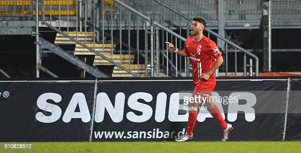 Elia Soriano of Wuerzburg celebrates after scoring his team's second goal during the Third League match between Wuerzburger Kickers and Preussen...