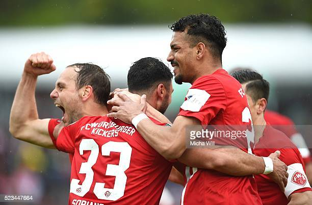 Elia Soriano of Wuerzburg celebrates after scoring his team's second goal during the third league match between Wuerburger Kickers and Hansa Rostock...