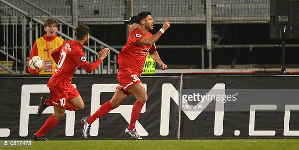 Elia Soriano of Wuerzburg celebrates after scoring the opening/first goal during the Third League match between Wuerzburger Kickers and Preussen...