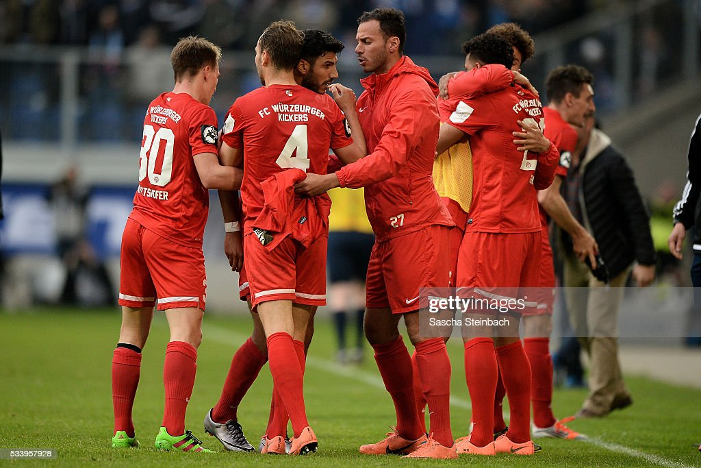 Elia Soriano (3-L) of Wuerzburg celebrates with team mates after scoring his team's first goal during the 2. Bundesliga playoff leg 2 match between MSV Duisburg and Wuerzburger Kickers at Schauinsland-Reisen-Arena on May 24, 2016 in Duisburg, Germany.