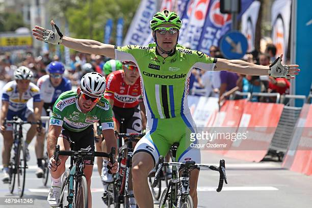 Elia Viviani celebrates after he crosses the finish line to win the 7th stage of the 50th Presidential Cycling Tour 132 km stage between Kusadasi to...