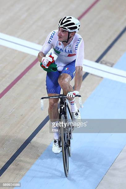 Elia Viviani of Italy celebrates after winning the Cycling Track Men's Omnium Points Race 66 on Day 10 of the Rio 2016 Olympic Games at the Rio...