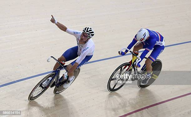 Elia Viviani of Italy celebrates winning the Elimination race of the Men's Omnium on Day 9 of the Rio 2016 Olympic Games at the Rio Olympic Velodrome...