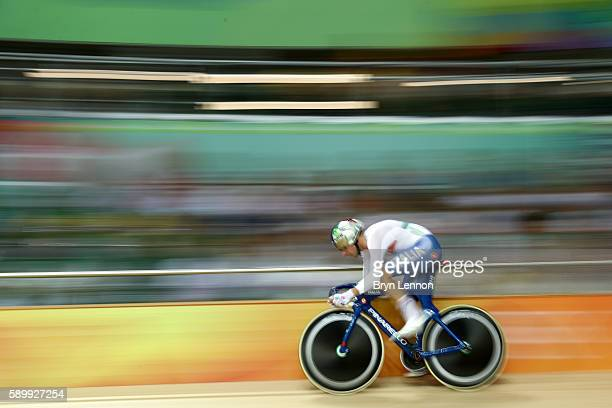 Elia Viviani of Italy competes in the Cycling Track Men's Omnium Flying Lap on on Day 10 of the Rio 2016 Olympic Games at the Rio Olympic Velodrome...