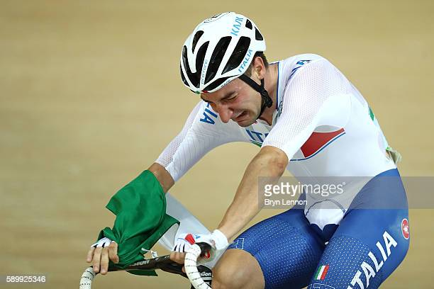 Elia Viviani of Italy cries after winning the Cycling Track Men's Omnium Points Race 66 on Day 10 of the Rio 2016 Olympic Games at the Rio Olympic...
