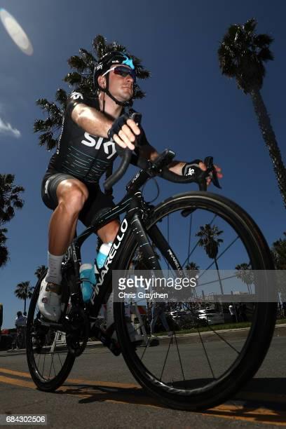 Elia Viviani of Italy riding for Team Sky rides to the start prior to stage four of the AMGEN Tour of California from Santa Barbara to Santa Clarita...