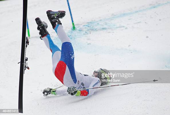 Elia Zurbriggen of Switzerland crashes down the Kandahar course during the Audi FIS Alpine Ski World Cup giant slalom race on March 1 2015 in...