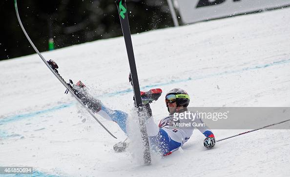 Elia Zurbriggen of Switzerland falls on the Kandahar course during the Audi FIS Alpine Ski World Cup giant slalom race on March 1 2015 in...