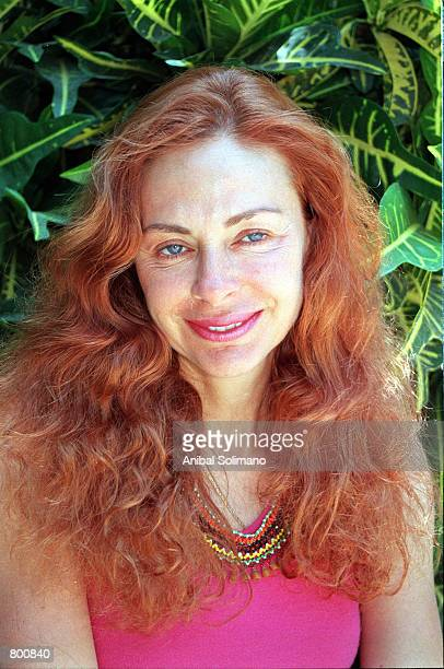 Eliane Karp the wife of Peruvian presidential frontrunner for the elections Alejandro Toledo poses for photograph during an interview April 7 2001 in...