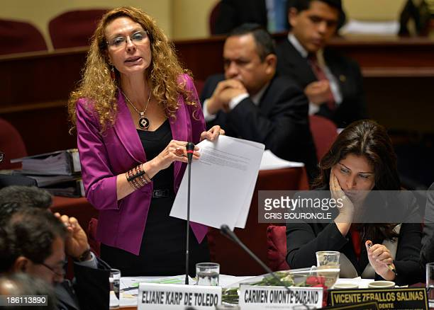 Eliane Karp wife of former Peruvian President Alejandro Toledo presents her defense against accusations of illicit enrichment which also include...
