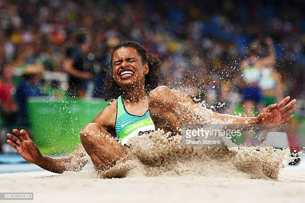 Eliane Martins of Brazil competes during the Women's Long Jump Qualifying Round on Day 11 of the Rio 2016 Olympic Games at the Olympic Stadium on...