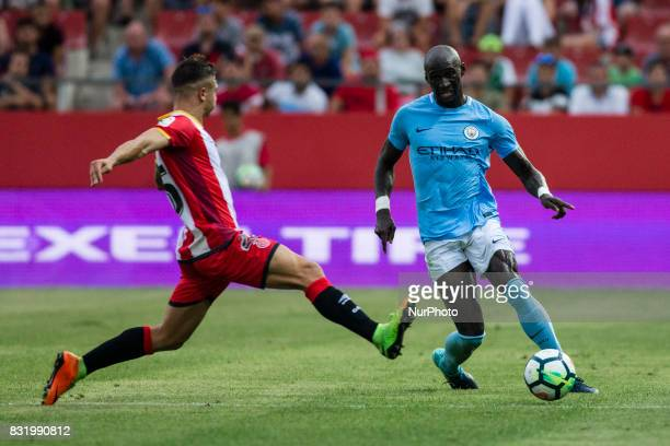 15 Eliaquim Mangala from France of Manchester City during the Costa Brava Trophy match between Girona FC and Manchester City at Estadi de Montilivi...
