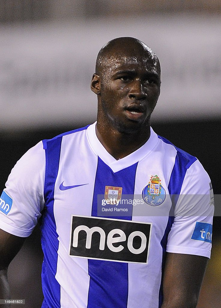 <a gi-track='captionPersonalityLinkClicked' href=/galleries/search?phrase=Eliaquim+Mangala&family=editorial&specificpeople=5713850 ng-click='$event.stopPropagation()'>Eliaquim Mangala</a> of FC Porto looks on during a Pre-Season friendly match between Valencia CF and FC Porto at Estadio Mestalla on July 28, 2012 in Valencia, Spain.