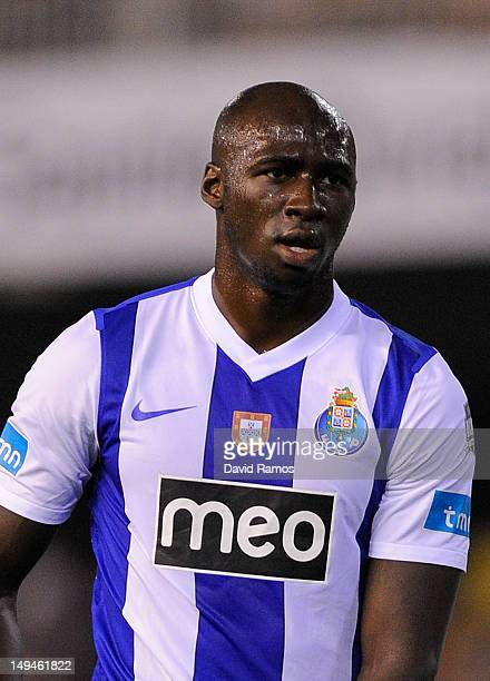 Eliaquim Mangala of FC Porto looks on during a PreSeason friendly match between Valencia CF and FC Porto at Estadio Mestalla on July 28 2012 in...