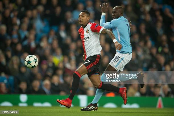 Eliaquim Mangala of Manchester City and JeanPaul Boëtius of Feyenoord during the UEFA Champions League group F match between Manchester City and...