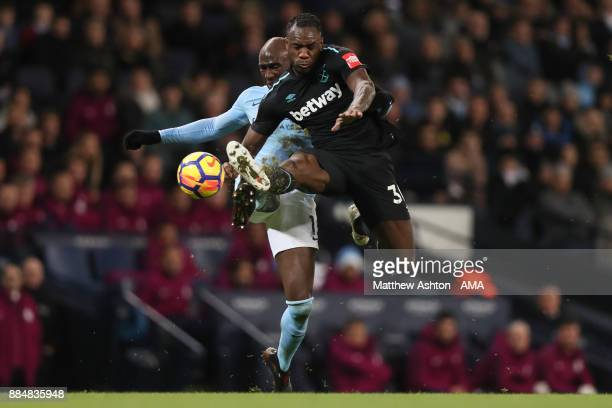 Eliaquim Mangala of Manchester City and Michail Antonio of West Ham United during the Premier League match between Manchester City and West Ham...
