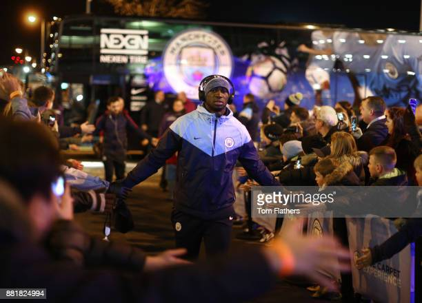 Eliaquim Mangala of Manchester City arrives at the stadium prior to the Premier League match between Manchester City and Southampton at Etihad...