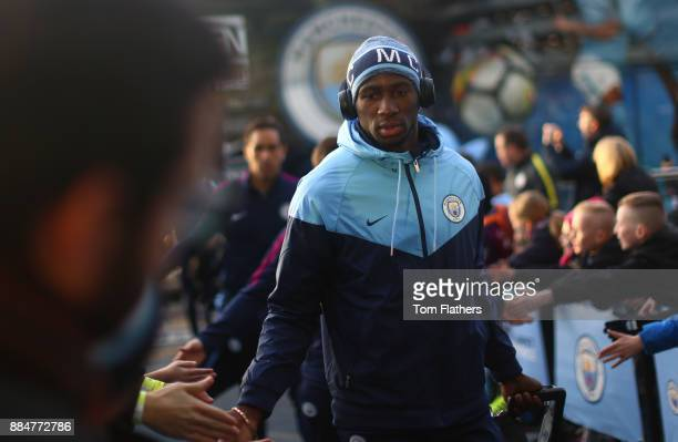 Eliaquim Mangala of Manchester City arrives at the stadium prior to the Premier League match between Manchester City and West Ham United at Etihad...
