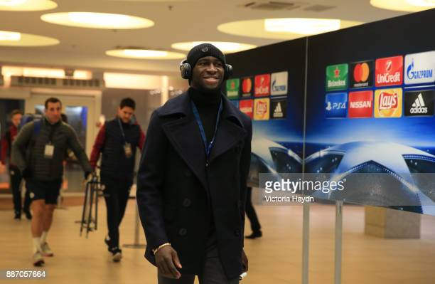 Eliaquim Mangala of Manchester City arrives at the stadium prior to the UEFA Champions League group F match between Shakhtar Donetsk and Manchester...