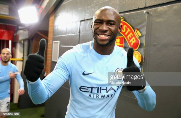 Eliaquim Mangala of Manchester City celebrates after the Premier League match between Manchester United and Manchester City at Old Trafford on...