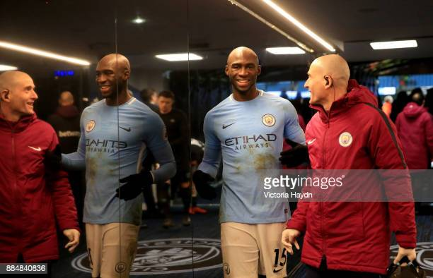 Eliaquim Mangala of Manchester City celebrates in the players' tunnel after the Premier League match between Manchester City and West Ham United at...