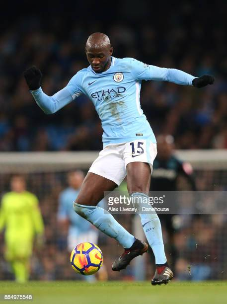 Eliaquim Mangala of Manchester City controls the ball during the Premier League match between Manchester City and West Ham United at Etihad Stadium...