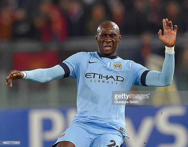 Eliaquim Mangala of Manchester City FC during the UEFA Champions League Group E match between AS Roma and Manchester City FC at Stadio Olimpico on...