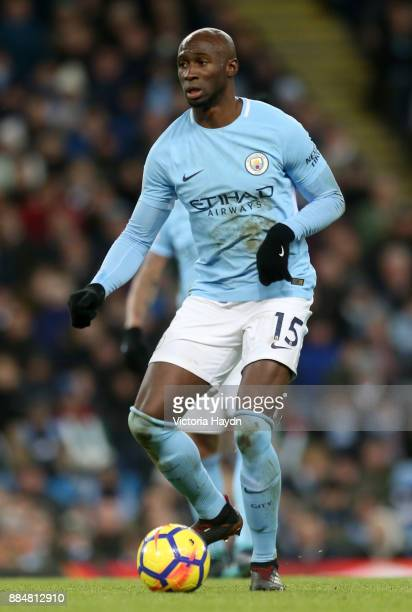 Eliaquim Mangala of Manchester City in action during the Premier League match between Manchester City and West Ham United at Etihad Stadium on...