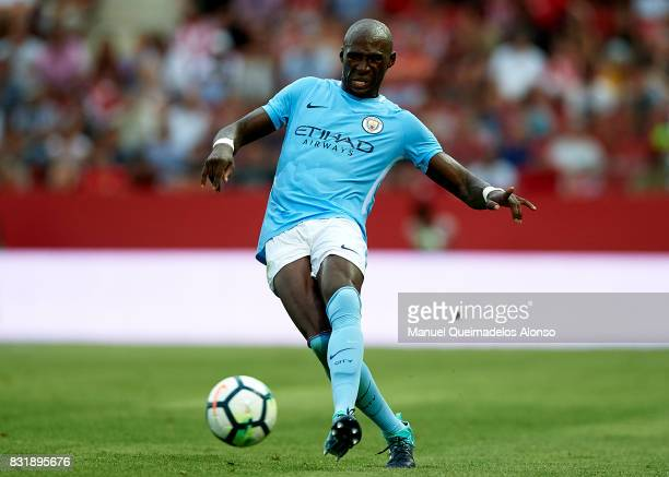 Eliaquim Mangala of Manchester City in action during the preseason friendly match between Girona and Manchester City at Municipal de Montilivi...