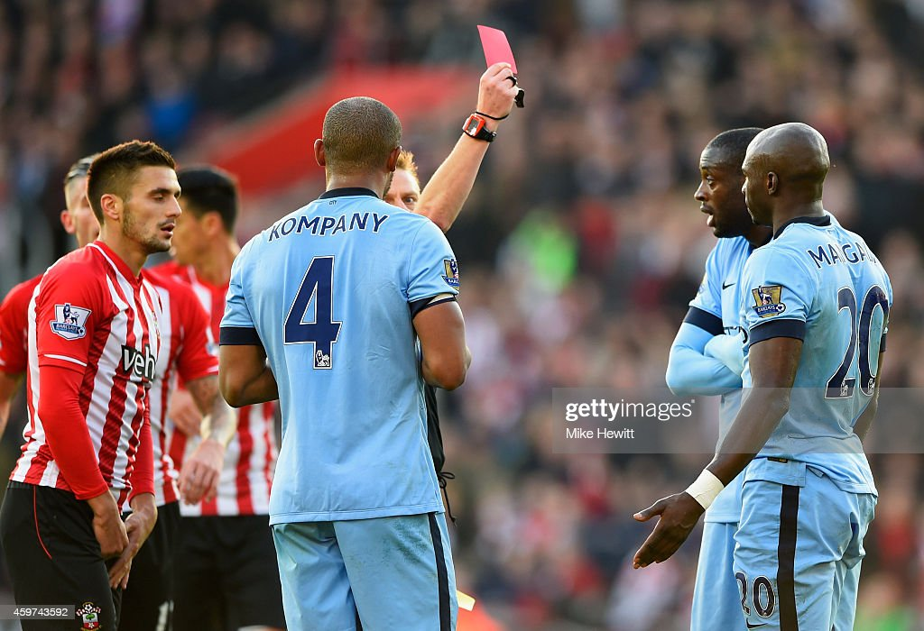 Eliaquim Mangala of Manchester City (20) is shown a red card by referee Mike Jones and is sent off during the Barclays Premier League match between Southampton and Manchester City at St Mary's Stadium on November 30, 2014 in Southampton, England.